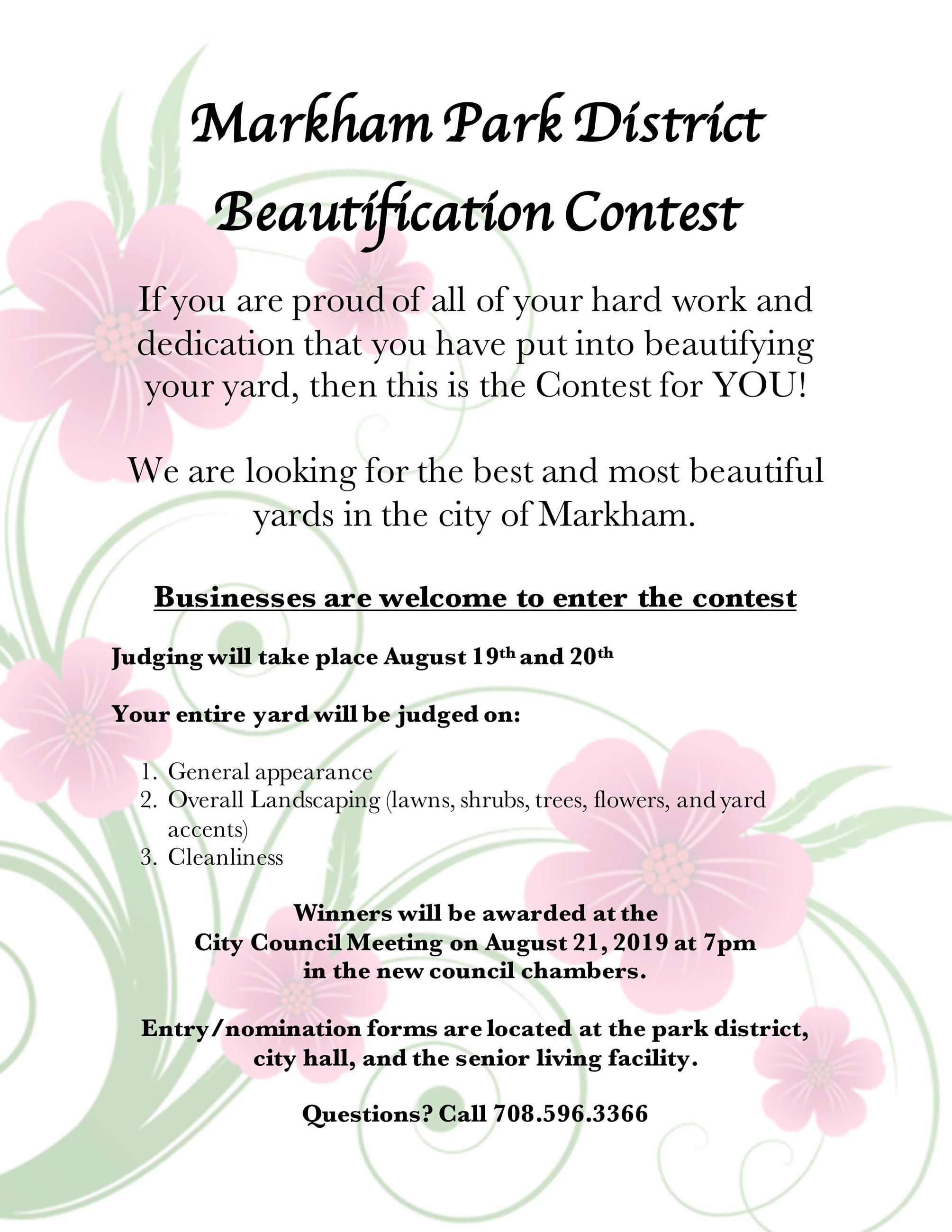 2019 Beautification Contest Flyerr