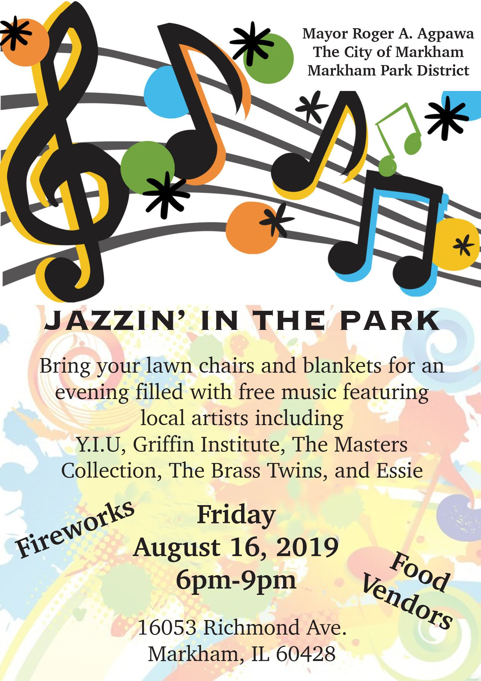 Jazzing in the Park Flyer