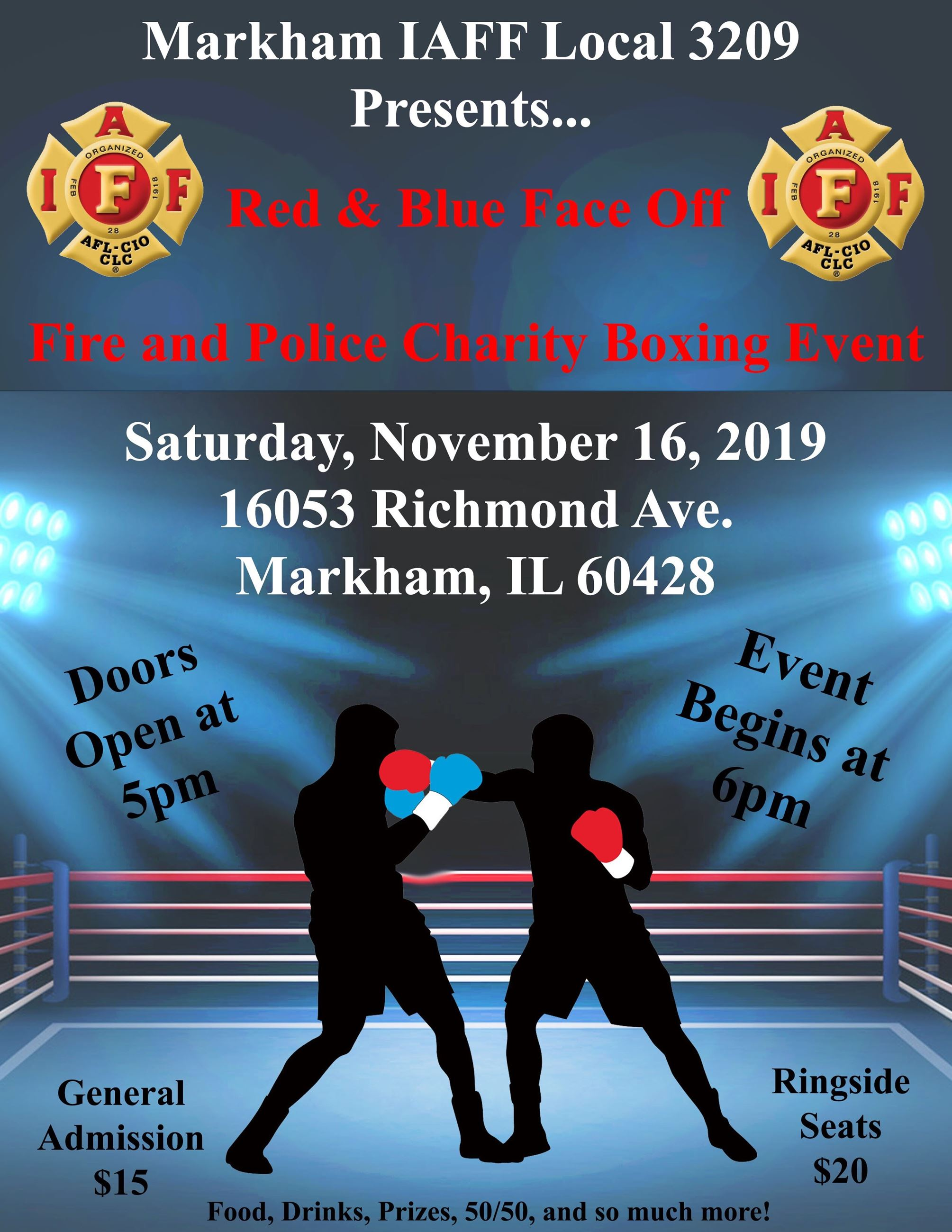 FIRE AND POLICE CHARITY BOXING EVENT FLYER