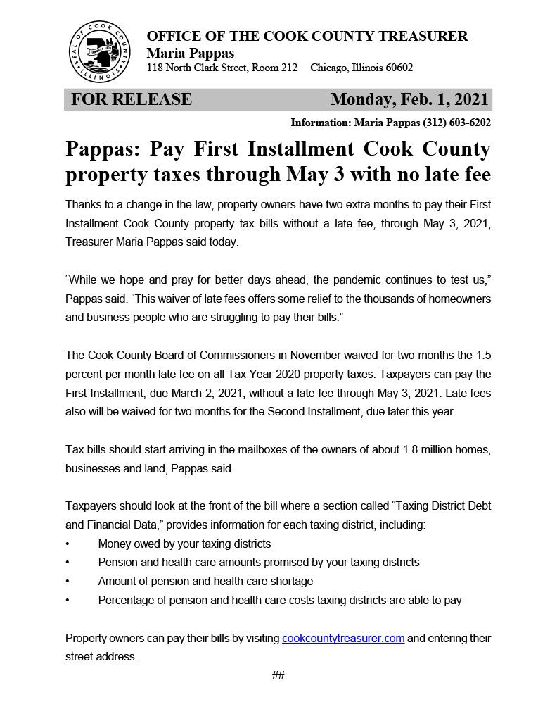 2-month waiver of late fees on Cook County property taxes1024_1