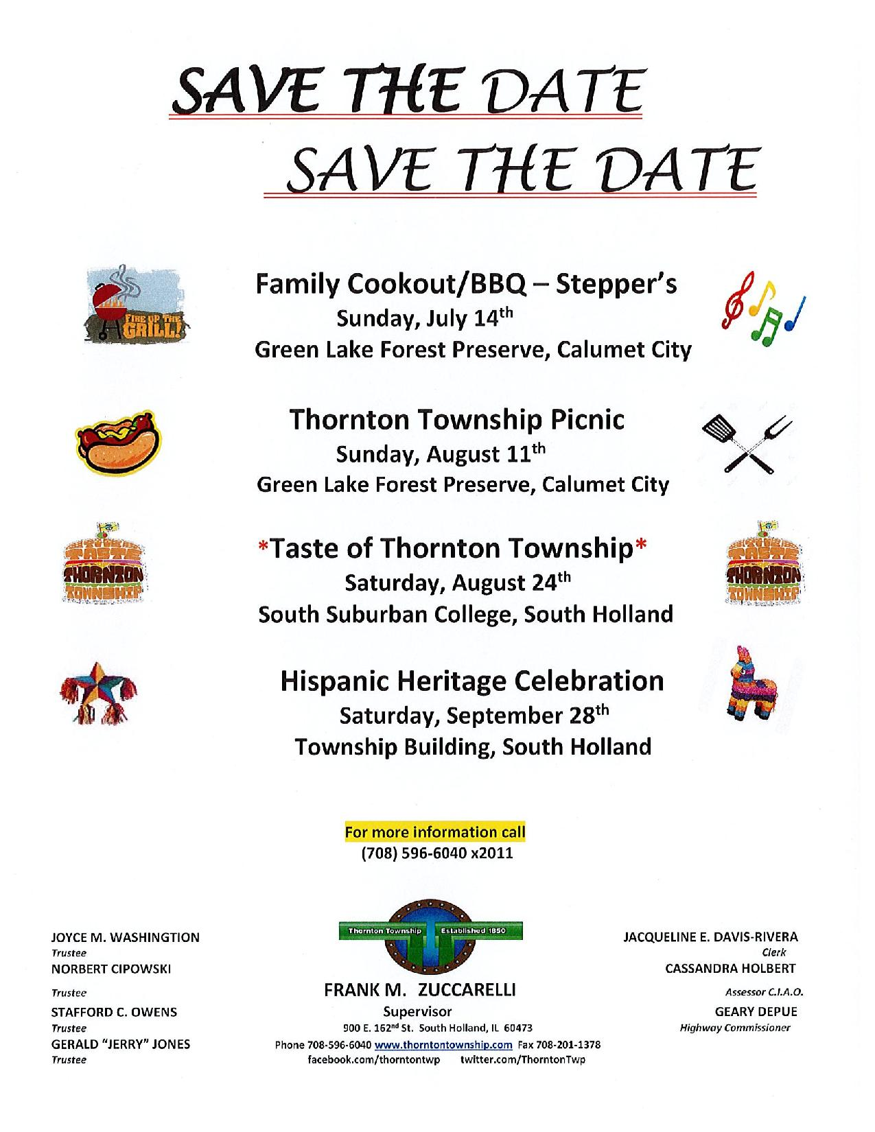 Thornton Township Events Flyer